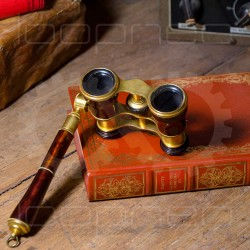 Theater binoculars and book